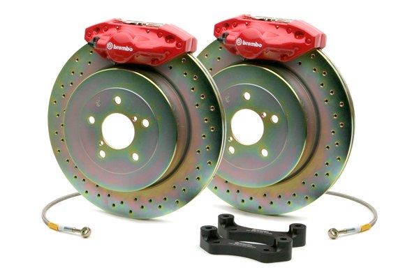 Brembo® - GT Series Cross Drilled Red Brake Kit (2-Piston Caliper, 1-Piece Rotor)