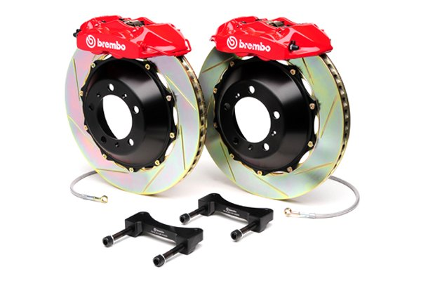 Brembo® - GT Series Slotted Red Brake Kit (4-Piston Caliper, 2-Piece Rotor)