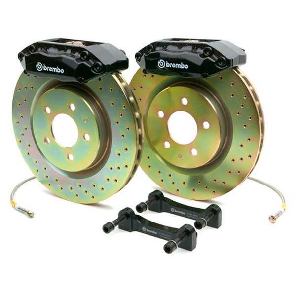 BREMBO� - GT Series Cross Drilled Black Brake Kit (4-Piston Caliper, 1-Piece Rotor)