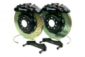 Brembo® - GT Series Cross Drilled Black Brake Kit (8-Piston Caliper, 2-Piece Rotor)