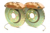 Brembo® - GT Series Cross Drilled Gold Brake Kit (4-Piston Caliper, 1-Piece Rotor)