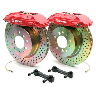 BREMBO® - GT Series Cross Drilled Red Brake Kit (4-Piston Caliper, 1-Piece Rotor)