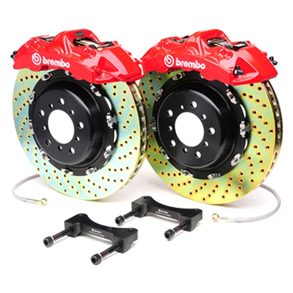 Brembo® - GT Series Cross Drilled Red Brake Kit (6-Piston Caliper, 2-Piece Rotor)