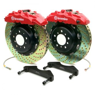 BREMBO® - GT Series Cross Drilled Red Brake Kit (8-Piston Caliper, 2-Piece Rotor)