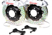 Brembo® - GT Series Cross Drilled Silver Brake Kit (6-Piston Caliper, 2-Piece Rotor)