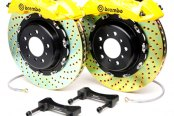 Brembo® - GT Series Cross Drilled Yellow Brake Kit (6-Piston Caliper, 2-Piece Rotor)