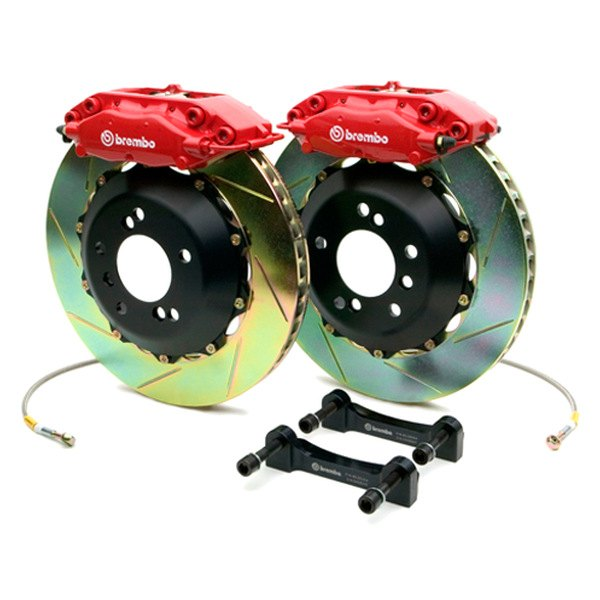 BREMBO� - GT Series Slotted Red Brake Kit (4-Piston Caliper, 2-Piece Rotor)