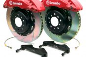 Brembo® - GT Series Slotted Red Brake Kit (6-Piston Caliper, 1-Piece Rotor)
