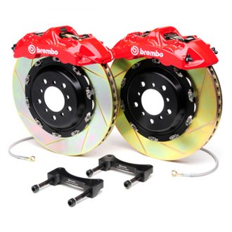 BREMBO® - GT Series Slotted Red Brake Kit (6-Piston Caliper, 2-Piece Rotor)
