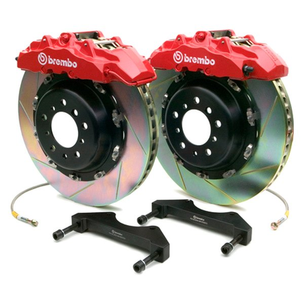 Brembo® - GT Series Slotted Red Brake Kit (8-Piston Caliper, 2-Piece Rotor)