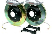 Brembo® - GT Series Slotted Silver Brake Kit (4-Piston Caliper, 1-Piece Rotor)