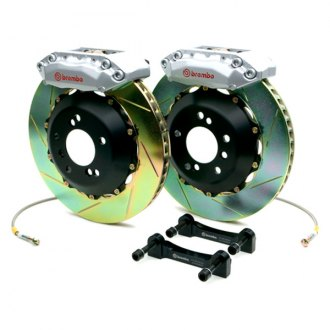 BREMBO� - GT Series Slotted Silver Brake Kit (4-Piston Caliper, 2-Piece Rotor)