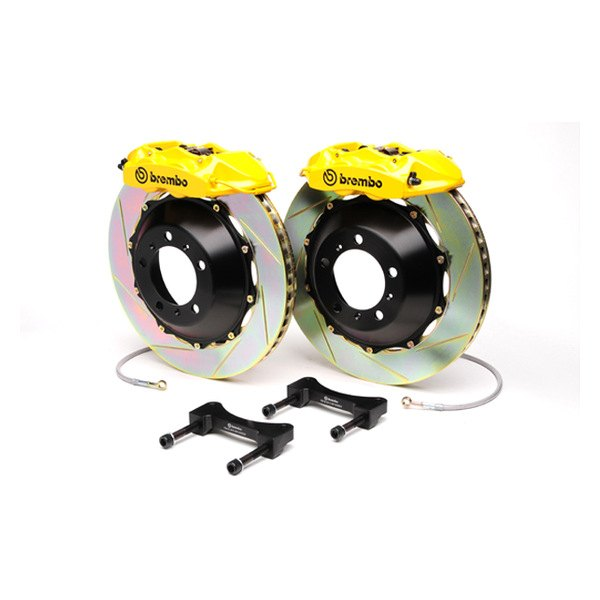 Brembo® - GT Series Slotted Yellow Brake Kit (4-Piston Caliper, 1-Piece Rotor)