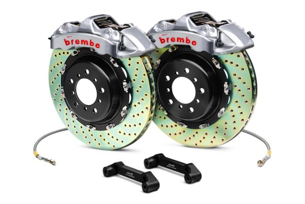 Brembo® - GT-R Series Cross Drilled Brake Kit (6-Piston Caliper, 2-Piece Rotor)