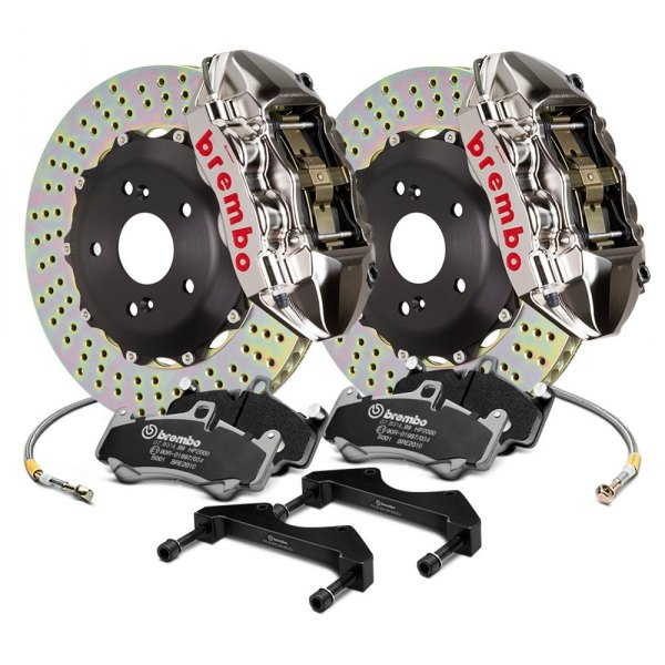 Image may not reflect your exact vehicle! Brembo® - GT-R Series Cross Drilled 2-Piece Rotor Rear Brake Kit