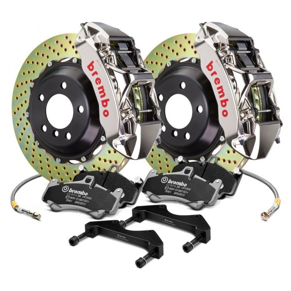 Image may not reflect your exact vehicle! Brembo® - GT-R Series Cross Drilled Front Big Brake Kit