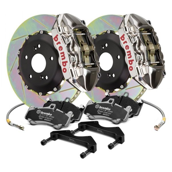 Image may not reflect your exact vehicle! Brembo® - GT-R Series Slotted Rear Big Brake Kit