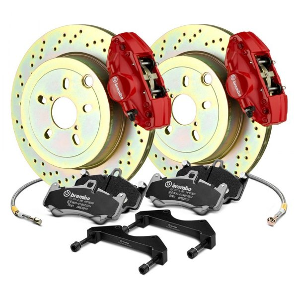Brembo® - GT Series Cross Drilled 1-Piece Rotor Rear Brake Kit