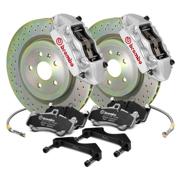 Image may not reflect your exact vehicle! Brembo® - GT Series Cross Drilled 1-Piece Rotor Front Brake Kit