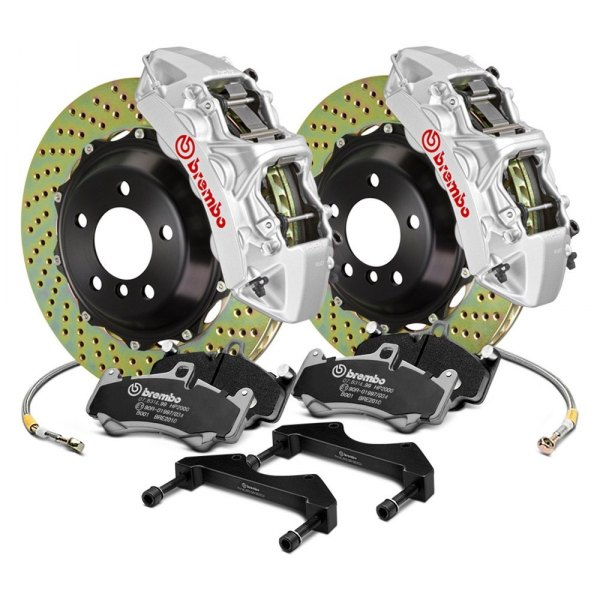 Image may not reflect your exact vehicle! Brembo® - GT Series Cross Drilled Rear Big Brake Kit