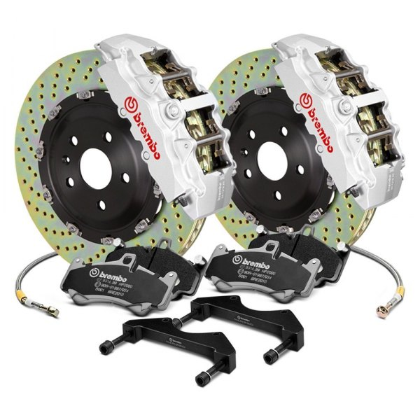 Image may not reflect your exact vehicle! Brembo® - GT Series Cross Drilled 2-Piece Rotor Front Brake Kit