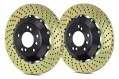 Image may not reflect your exact vehicle! Brembo® - GT Series Cross Drilled 2-Piece Front Brake Rotors