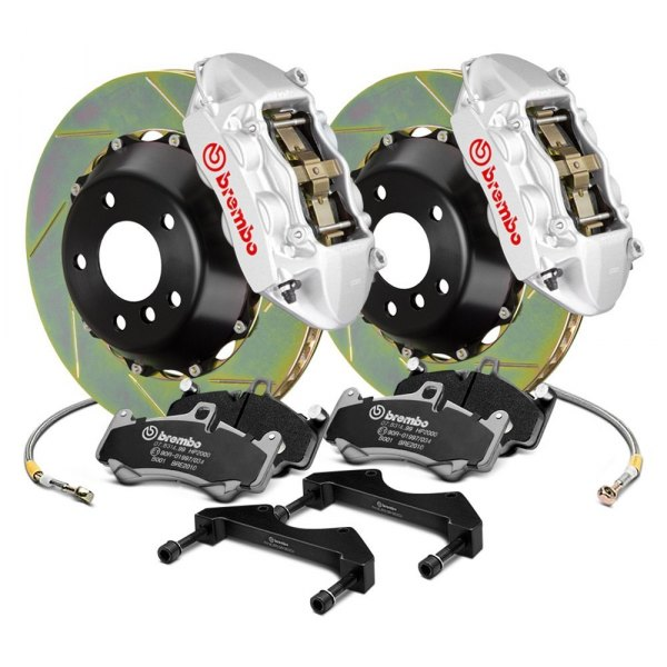 Image may not reflect your exact vehicle! Brembo® - GT Series Slotted 2-Piece Rotor Rear Brake Kit