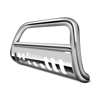 "Broadfeet® - 2.5"" Polished Stainless Steel Bull Bar with Skid Plate"