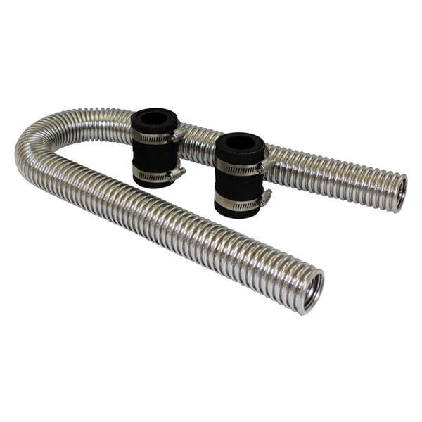 "BTP® - 36"" Chrome Stainless Steel Radiator Hose Kit without Aluminum Caps"