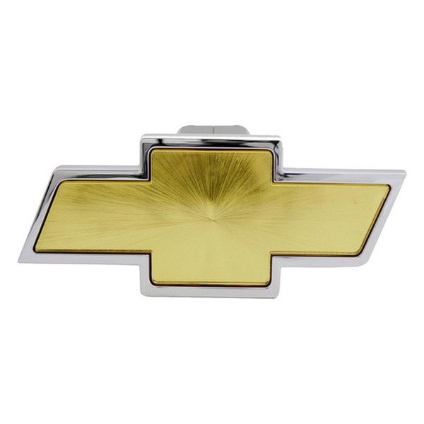 Bully® - Chrome with Gold Center Hitch Cover with Chevy Logo