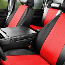 CalTrend® - Black/Red Leather Custom Seat Covers