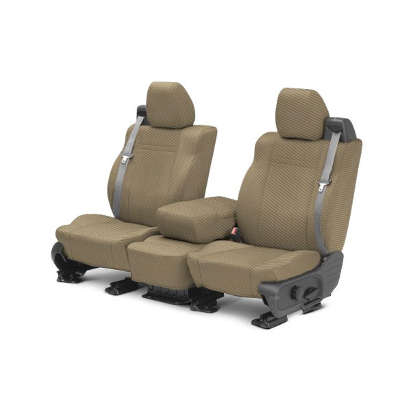 CalTrend® - 1st Row Carbon Fiber Beige Custom Seat Covers