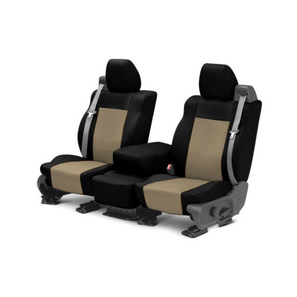 CalTrend® - 1st Row Carbon Fiber Black & Beige Custom Seat Covers