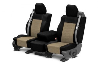 CalTrend® SU120-06FC - Front Row Carbon Fiber Black with Beige Custom Seat Covers