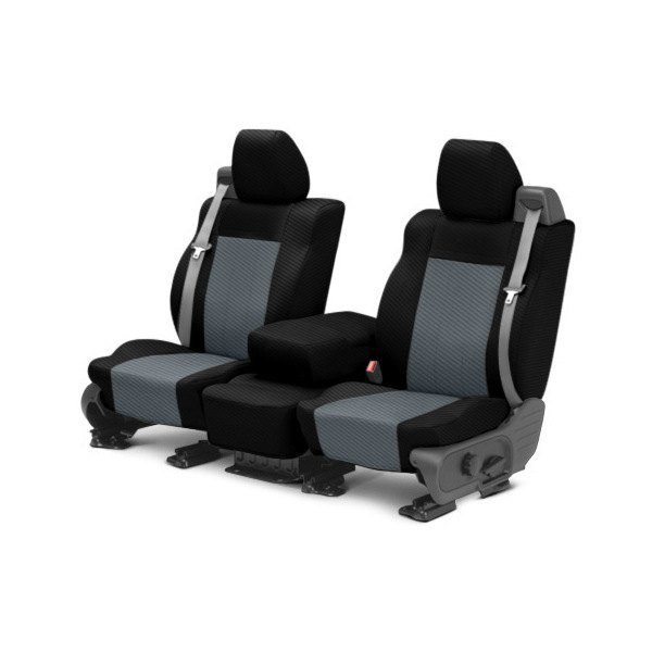 CalTrend® - 1st Row Carbon Fiber Black & Charcoal Custom Seat Covers