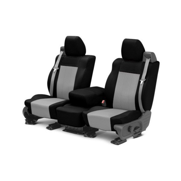 CalTrend® - 1st Row Carbon Fiber Black & Light Gray Custom Seat Covers