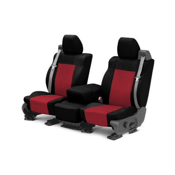 CalTrend® - 1st Row Carbon Fiber Black & Red Custom Seat Covers