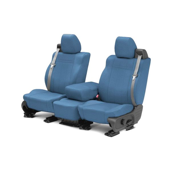 CalTrend® - 1st Row Carbon Fiber Blue Custom Seat Covers