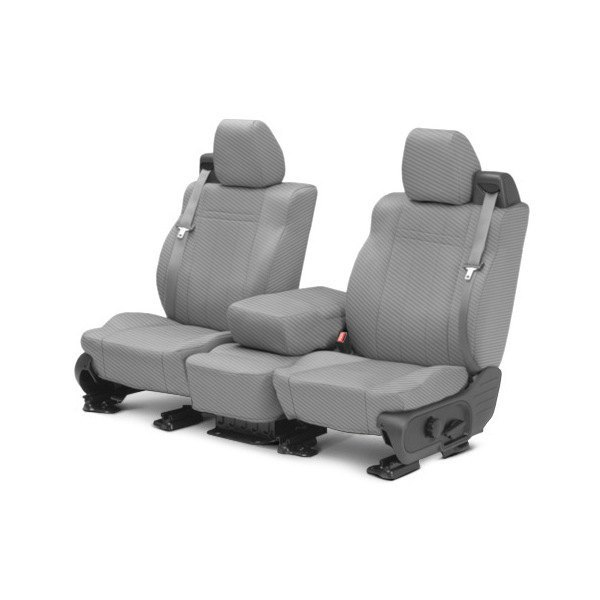 CalTrend® - 1st Row Carbon Fiber Light Gray Custom Seat Covers