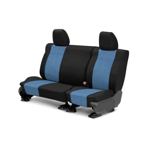 CalTrend® - Carbon Fiber 2nd Row Black & Blue Custom Seat Covers