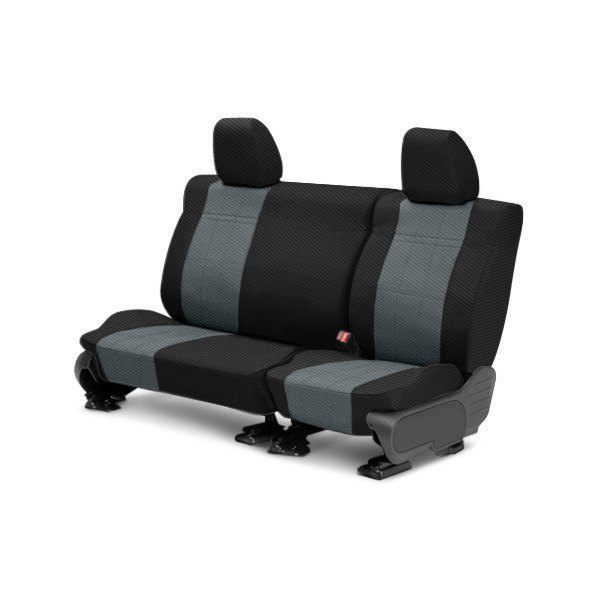 CalTrend® - 2nd Row Carbon Fiber Black & Charcoal Custom Seat Covers