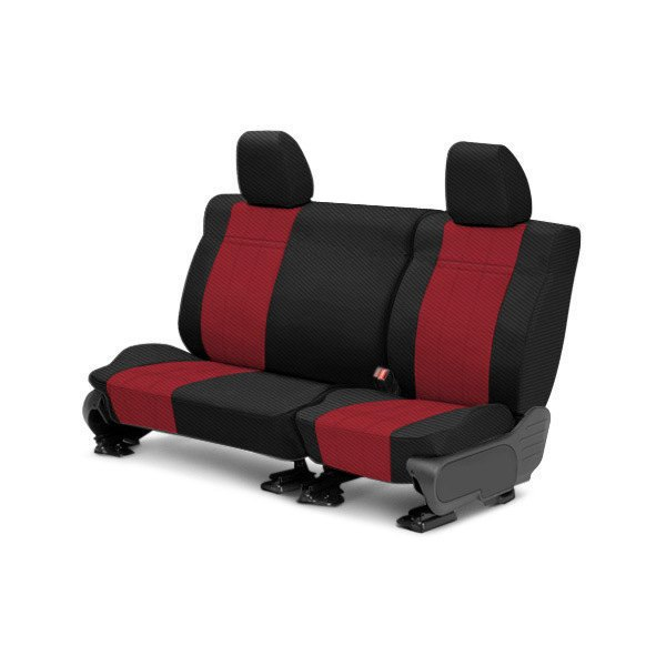 CalTrend® - 2nd Row Carbon Fiber Black & Red Custom Seat Covers