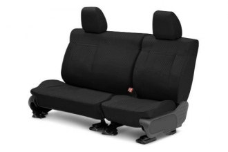 CalTrend® NS304-01FC - Rear Row Carbon Fiber Black with Black Custom Seat Covers