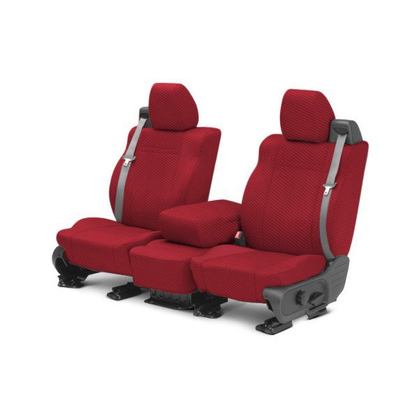 CalTrend® - 1st Row Carbon Fiber Red Custom Seat Covers