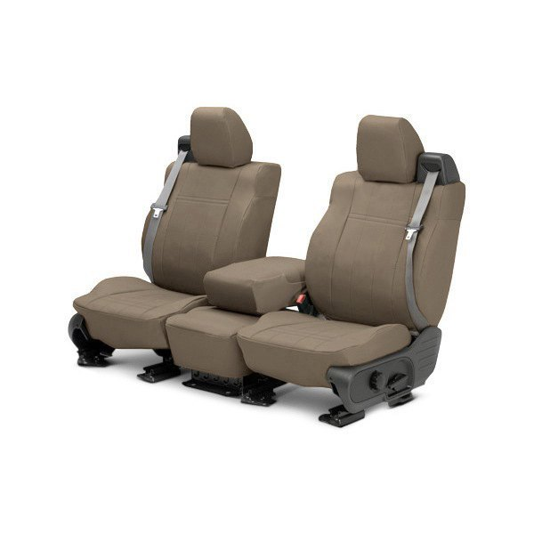 Image may not reflect your exact vehicle! CalTrend® - 1st Row DuraPlus Beige Custom Seat Covers
