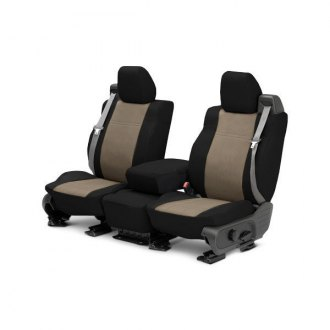 Image may not reflect your exact vehicle! CalTrend® - Front DuraPlus Black with Beige Custom Seat Covers