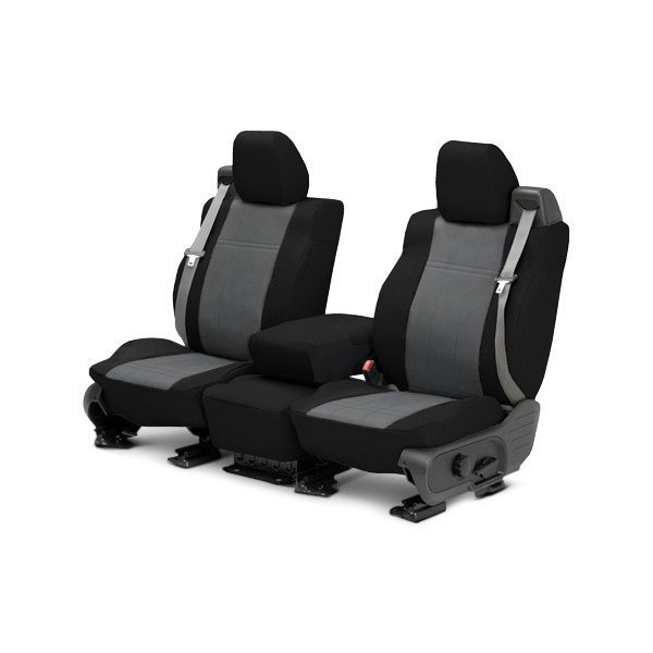 Image may not reflect your exact vehicle! CalTrend® - 1st Row DuraPlus Black with Charcoal Custom Seat Covers