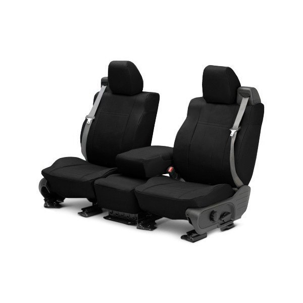 Image may not reflect your exact vehicle! CalTrend® - Front DuraPlus Black with Black Custom Seat Covers