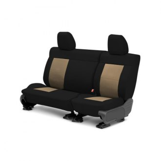 Image may not reflect your exact vehicle! CalTrend® - Center DuraPlus Black with Beige Custom Seat Covers