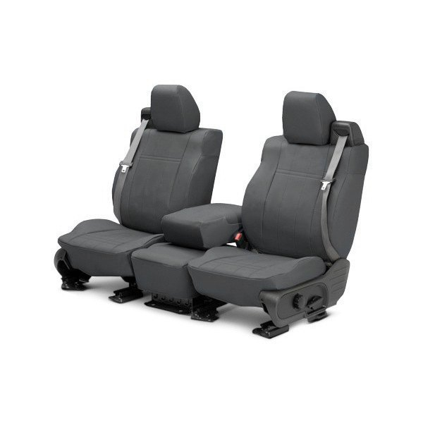 Image may not reflect your exact vehicle! CalTrend® - 1st Row DuraPlus Charcoal Custom Seat Covers